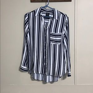 Navy blue and white striped button up